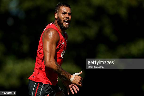 Lance Franklin runs during a Sydney Swans AFL preseason training session at Lakeside Oval on January 15 2014 in Sydney Australia