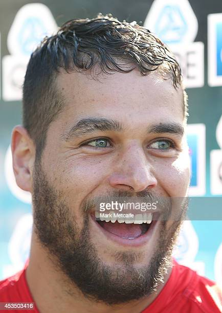 Lance Franklin speaks to the media prior to a Sydney Swans AFL training session at Sydney Cricket Ground on August 12 2014 in Sydney Australia