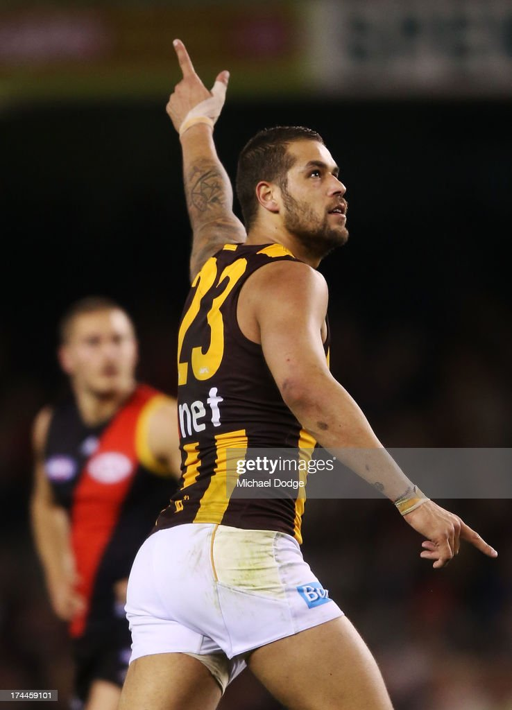<a gi-track='captionPersonalityLinkClicked' href=/galleries/search?phrase=Lance+Franklin&family=editorial&specificpeople=561332 ng-click='$event.stopPropagation()'>Lance Franklin</a>of the Hawks celebrates a goal during the round 18 AFL match between the Essendon Bombers and the Hawthorn Hawks at Etihad Stadium on July 26, 2013 in Melbourne, Australia.