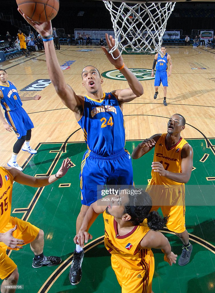 Lance Goulbourne #24 of the Santa Cruz Warriors shoots the ball against the Canton Charge during the 2013 NBA D-League Showcase on January 10, 2013 at the Reno Events Center in Reno, Nevada.