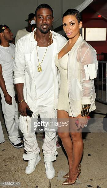Lance Gross and Laura Gross attend the Power Party all white affair at Compound on August 30 2014 in Atlanta City
