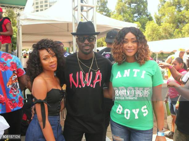 Lance Gross Lil Mama and Tami Roman attend the Hot 1079 Birthday Bash ATL Free Block Party in Centennial Olympic Park on June 17 2017 in Atlanta...