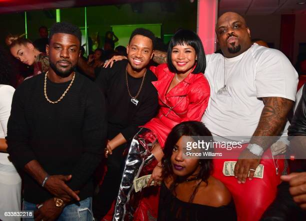 Lance Gross Terrence J Shani James Jasmine Sanders and CeeLo Green attend Showtime Nightclub on February 3 2017 in Houston Texas