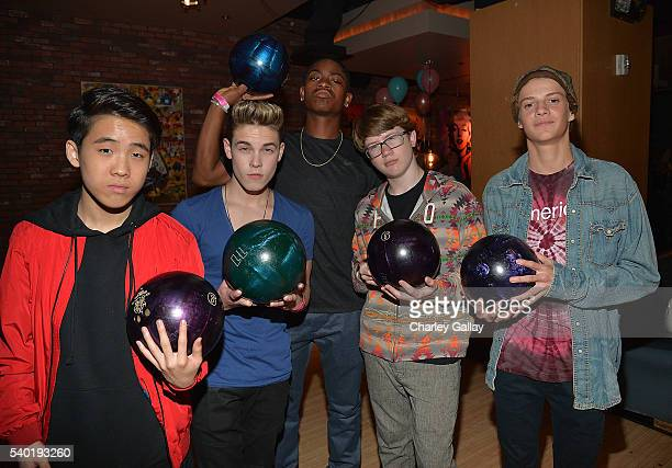 Lance Lim Ricardo Hurtado RJ Cyler Aidan Miner and Jace Norman attend Breanna Yde's 13th Birthday Party at Lucky Strike Lanes at LA Live on June 11...