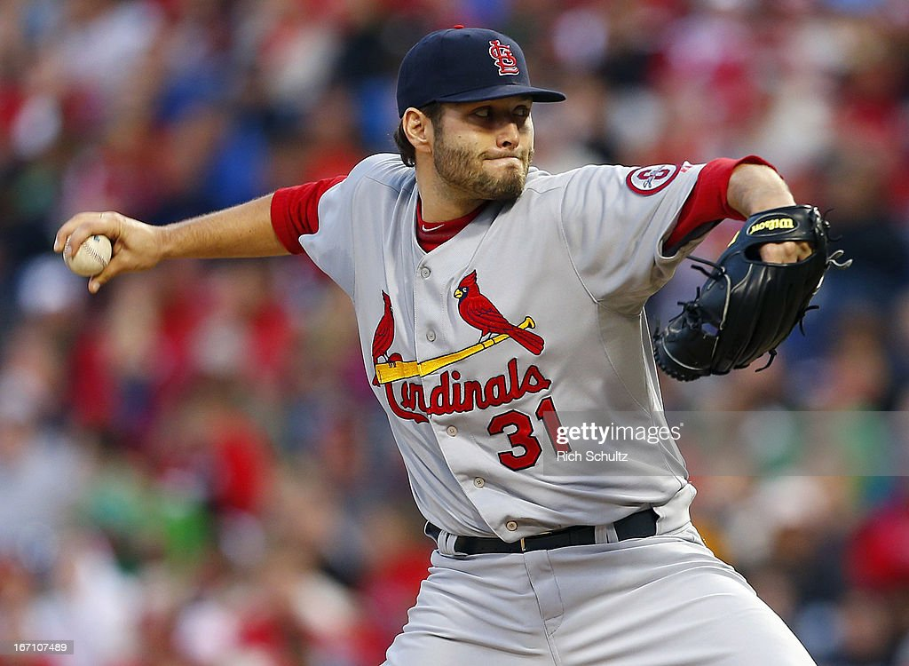 <a gi-track='captionPersonalityLinkClicked' href=/galleries/search?phrase=Lance+Lynn&family=editorial&specificpeople=6800756 ng-click='$event.stopPropagation()'>Lance Lynn</a> #31 of the St. Louis Cardinals delivers a pitch against the Philadelphia Phillies in a MLB baseball game on April 20, 2013 at Citizens Bank Park in Philadelphia, Pennsylvania.