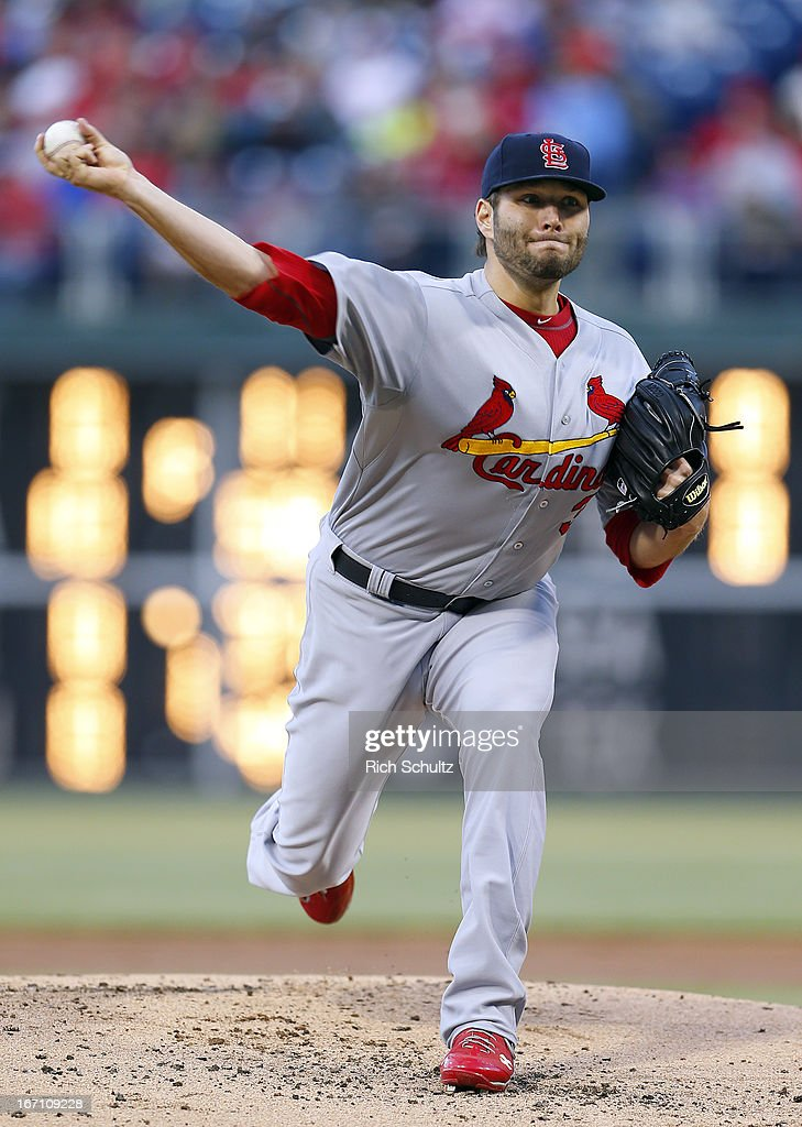 <a gi-track='captionPersonalityLinkClicked' href=/galleries/search?phrase=Lance+Lynn&family=editorial&specificpeople=6800756 ng-click='$event.stopPropagation()'>Lance Lynn</a> #31 of the St. Louis Cardinals delivers a pitch against the Philadelphia Phillies in a MLB baseball game on April 20, 2013 at Citizens Bank Park in Philadelphia, Pennsylvania. The Cardinals defeated the Phillies 5-0.