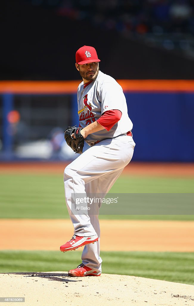 Lance Lynn of the St Louis Cardinals in action against the New York Mets during their game at Citi Field in the Flushing neighborhood of the Queens...