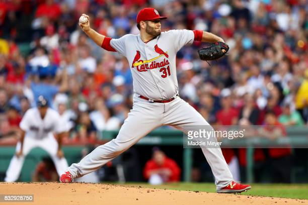 Lance Lynn of the St Louis Cardinals pitches against the Boston Red Sox during the first inning at Fenway Park on August 16 2017 in Boston...