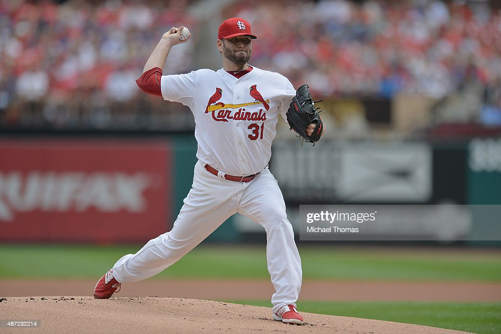 Lance Lynn of the St Louis Cardinals pitches against the Chicago Cubs in the first inning at Busch Stadium on September 7 2015 in St Louis Missouri