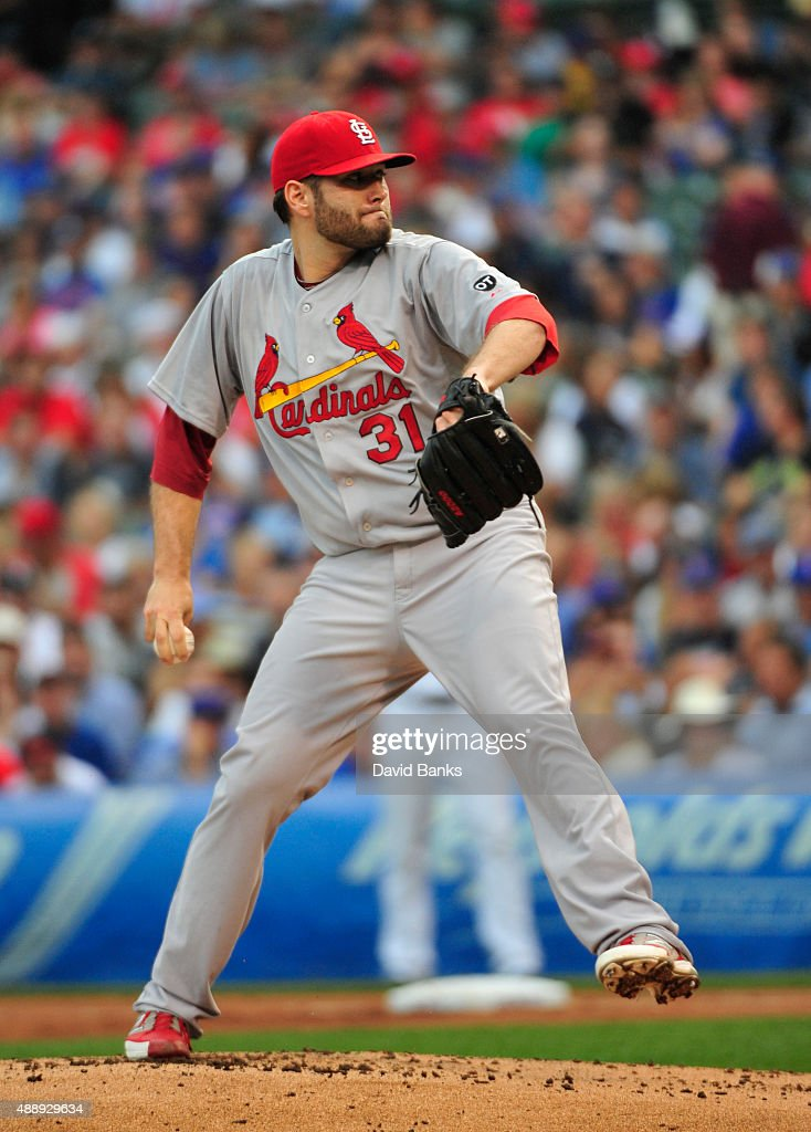 Lance Lynn of the St Louis Cardinals pitches against the Chicago Cubs during the first inning on September 18 2015 at Wrigley Field in Chicago...