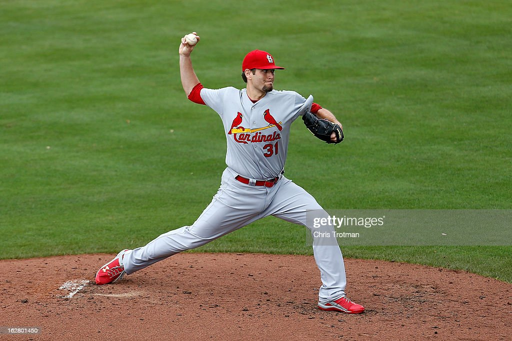 <a gi-track='captionPersonalityLinkClicked' href=/galleries/search?phrase=Lance+Lynn&family=editorial&specificpeople=6800756 ng-click='$event.stopPropagation()'>Lance Lynn</a> #31 of the St. Louis Cardinals pitches against the New York Mets at Tradition Field on February 27, 2013 in Port St. Lucie, Florida.