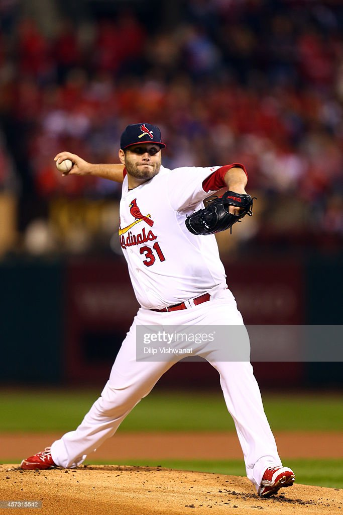 Lance Lynn of the St Louis Cardinals pitches against the San Francisco Giants during Game Two of the National League Championship Series at Busch...