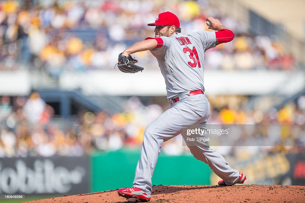 <a gi-track='captionPersonalityLinkClicked' href=/galleries/search?phrase=Lance+Lynn&family=editorial&specificpeople=6800756 ng-click='$event.stopPropagation()'>Lance Lynn</a> #31 of the St. Louis Cardinals pitches during game one of a twilight doubleheader against the Pittsburgh Pirates at PNC Park on July 30, 2013 in Pittsburgh, Pennsylvania.