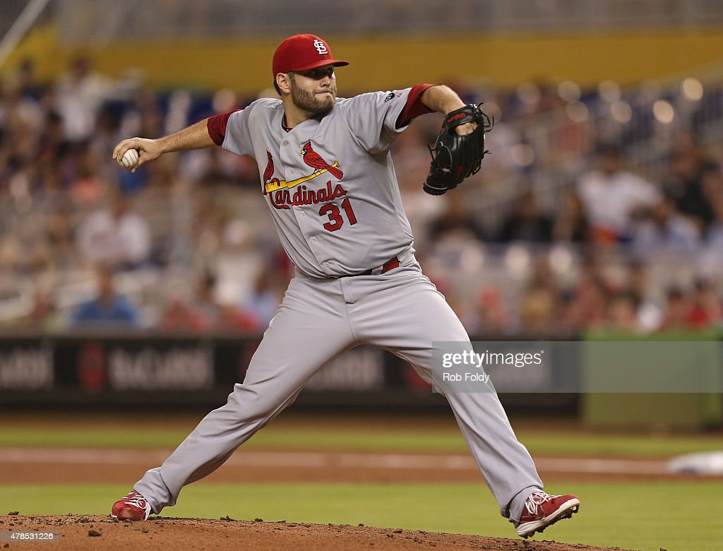 Lance Lynn of the St Louis Cardinals pitches during the first inning of the game against the Miami Marlins at Marlins Park on June 25 2015 in Miami...