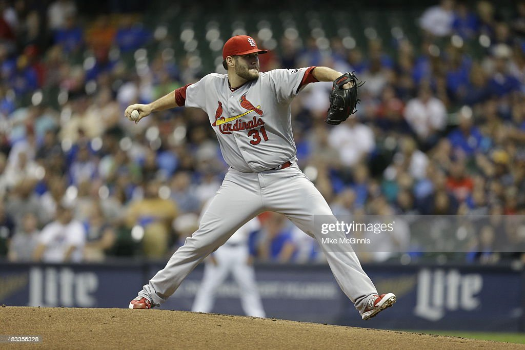 Lance Lynn of the St Louis Cardinals pitches during the first inning against the Milwaukee Brewers at Miller Park on August 07 2015 in Milwaukee...
