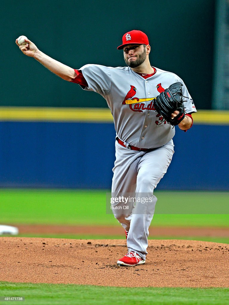 Lance Lynn of the St Louis Cardinals pitches during the first inning of the second baseball game in a double header against the Atlanta Braves at...