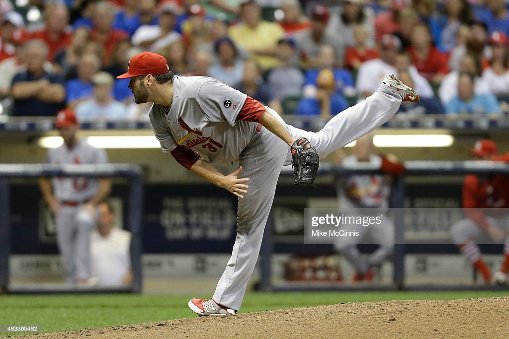 Lance Lynn of the St Louis Cardinals pitches during the fourth inning against the Milwaukee Brewers at Miller Park on August 07 2015 in Milwaukee...