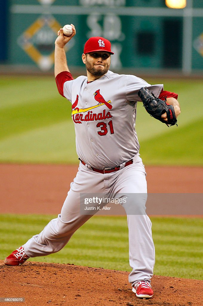 Lance Lynn of the St Louis Cardinals pitches in the first inning during the game against the Pittsburgh Pirates at PNC Park on July 10 2015 in...