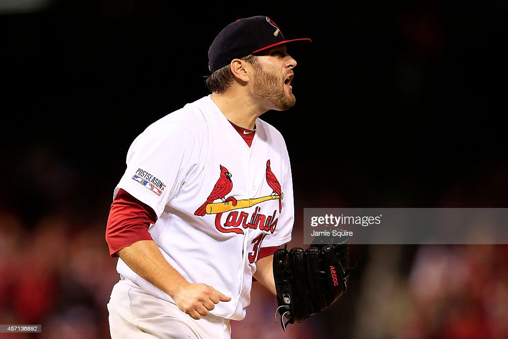 Lance Lynn of the St Louis Cardinals reacts in the fifth inning against the San Francisco Giants during Game Two of the National League Championship...