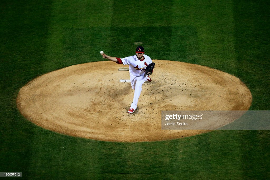 Lance Lynn of the St Louis Cardinals throws a pitch against the Boston Red Sox during Game Four of the 2013 World Series at Busch Stadium on October...