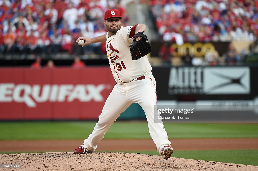 Lance Lynn of the St Louis Cardinals throws a pitch in the third inning against the Chicago Cubs during game two of the National League Division...