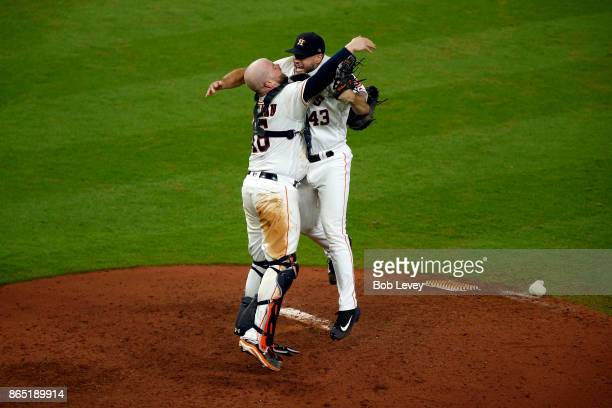 Lance McCullers Jr #43 and Brian McCann of Houston Astros celebrate after defeating the New York Yankees by a score of 40 to win Game Seven of the...