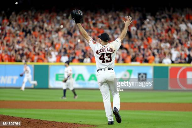 Lance McCullers Jr #43 of the Houston Astros celebrates after defeating the New York Yankees by a score of 40 to win Game Seven of the American...