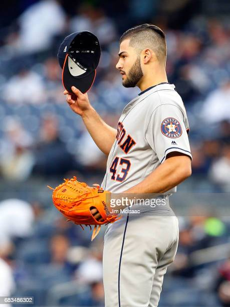 Lance McCullers Jr #43 of the Houston Astros in action against the New York Yankees at Yankee Stadium on May 12 2017 in the Bronx borough of New York...