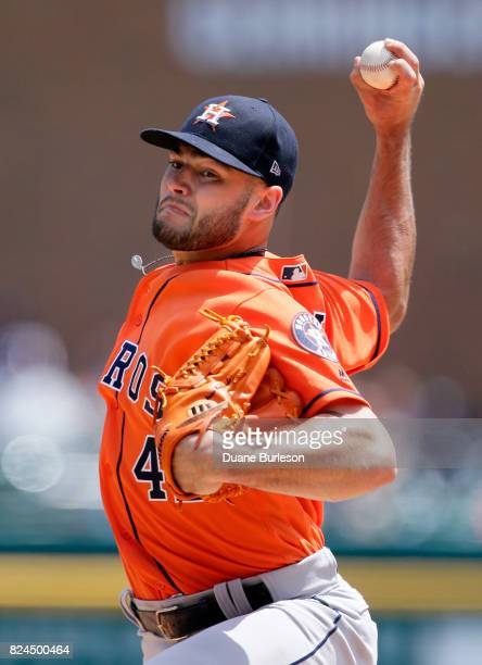 Lance McCullers Jr #43 of the Houston Astros pitches against the Detroit Tigers during the second inning at Comerica Park on July 30 2017 in Detroit...