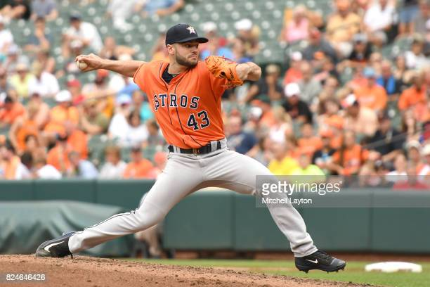 Lance McCullers Jr #43 of the Houston Astros pitches during a baseball game against the Baltimore Orioles at Oriole Park at Camden Yards on July 23...