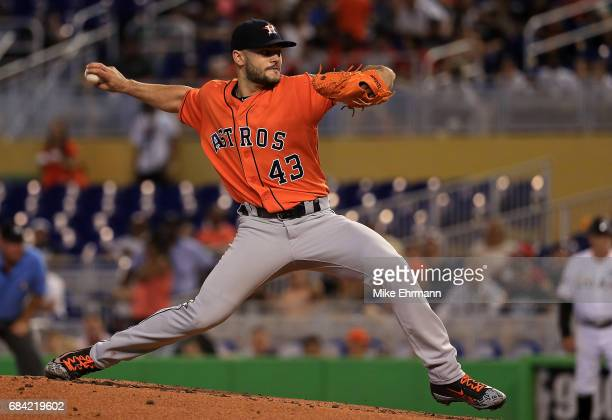Lance McCullers Jr #43 of the Houston Astros pitches during a game against the Miami Marlins at Marlins Park on May 17 2017 in Miami Florida