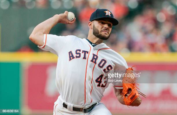 Lance McCullers Jr #43 of the Houston Astros pitches in the first inning against the Seattle Mariners at Minute Maid Park on April 4 2017 in Houston...