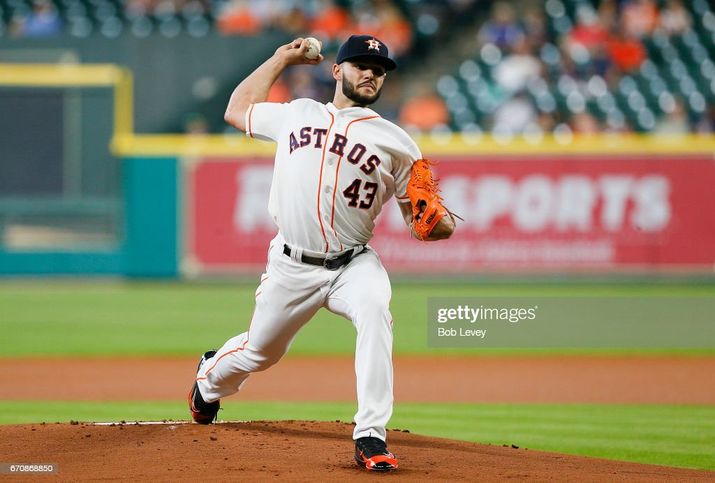 Lance McCullers Jr. #43 of the Houston Astros pitches in the first inning against the Los Angeles Angels of Anaheim at Minute Maid Park on April 20, 2017 in Houston, Texas.
