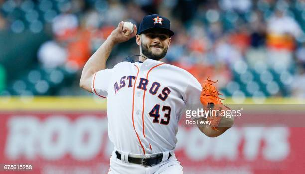 Lance McCullers Jr #43 of the Houston Astros pitches in the first inning against the Texas Rangers at Minute Maid Park on May 1 2017 in Houston Texas