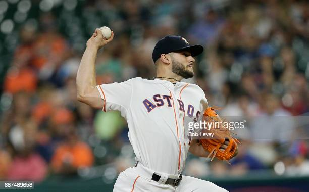 Lance McCullers Jr #43 of the Houston Astros pitches in the first inning against the Detroit Tigers at Minute Maid Park on May 23 2017 in Houston...