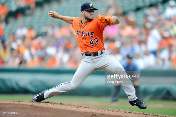 Lance McCullers Jr #43 of the Houston Astros pitches in the first inning against the Baltimore Orioles at Oriole Park at Camden Yards on July 23 2017...