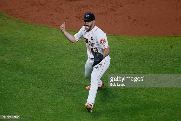 Lance McCullers Jr #43 of the Houston Astros reacts after a groundout to end the top of the third inning against the Los Angeles Dodgers in game...