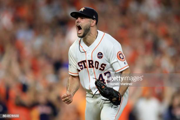 Lance McCullers Jr #43 of the Houston Astros reacts after striking out Aaron Judge of the New York Yankees to close out the eighth inning in Game...