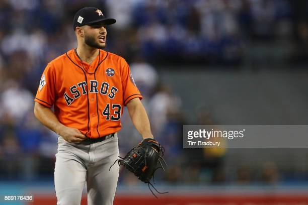 Lance McCullers Jr #43 of the Houston Astros reacts during the first inning against the Los Angeles Dodgers in game seven of the 2017 World Series at...