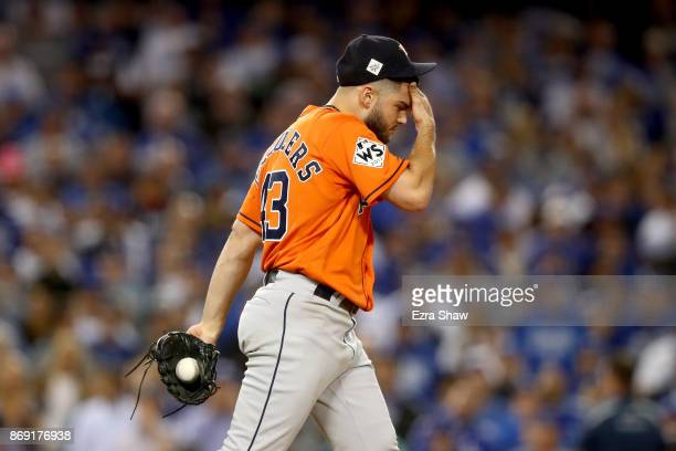 Lance McCullers Jr #43 of the Houston Astros reacts during the third inning against the Los Angeles Dodgers in game seven of the 2017 World Series at...