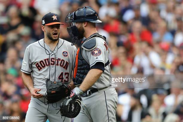 Lance McCullers Jr #43 of the Houston Astros talks with Brian McCann in the fourth inning during game three of the American League Division Series at...