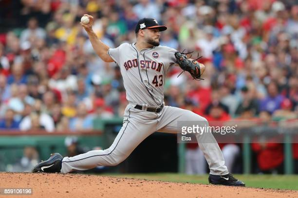 Lance McCullers Jr #43 of the Houston Astros throws a pitch against the Boston Red Sox during game three of the American League Division Series at...