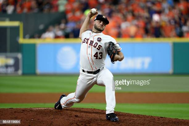 Lance McCullers Jr #43 of the Houston Astros throws a pitch against the New York Yankees during the sixth inning in Game Seven of the American League...