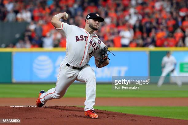 Lance McCullers Jr #43 of the Houston Astros throws a pitch during the first inning against the Los Angeles Dodgers in game three of the 2017 World...