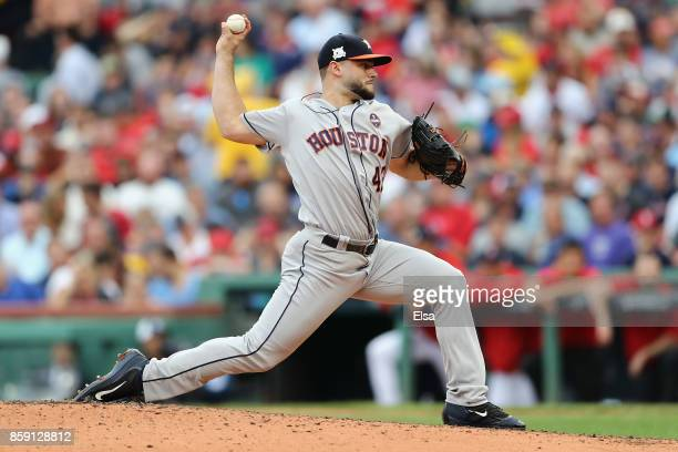Lance McCullers Jr #43 of the Houston Astros throws a pitch in the fourth inning against the Boston Red Sox during game three of the American League...