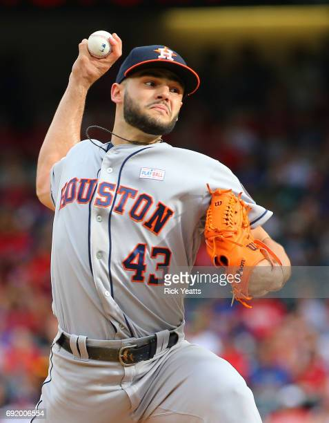 Lance McCullers Jr #43 of the Houston Astros throws in the first inning against the Texas Rangers at Globe Life Park in Arlington on June 3 2017 in...
