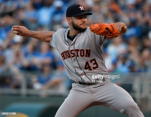 Lance McCullers Jr #43 of the Houston Astros throws in the first inning against the Kansas City Royals at Kauffman Stadium on June 8 2017 in Kansas...