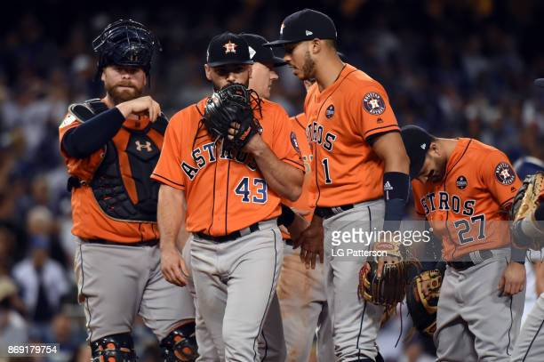 Lance McCullers Jr #43 of the Houston Astros walks back to the dugout after being removed from the game in the third inning during Game 7 of the 2017...