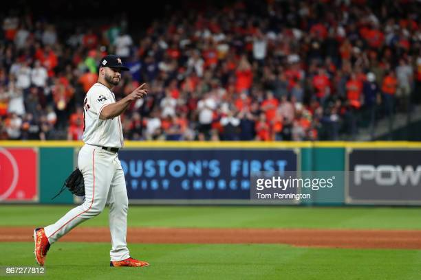 Lance McCullers Jr #43 of the Houston Astros walks to the dugout as he exits the game during the sixth inning against the Los Angeles Dodgers in game...