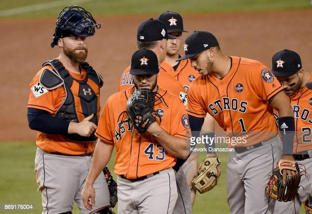 Lance McCullers Jr #43 of the Houston Astros walks to the dugout as he is relieved during the third inning against the Los Angeles Dodgers in game...